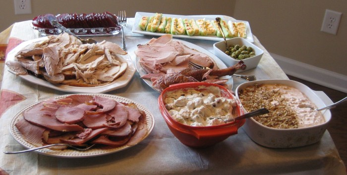 This picture represents one-fourth of the Thanksgiving spread a few years back. Did I mention you can count my family members on one hand?