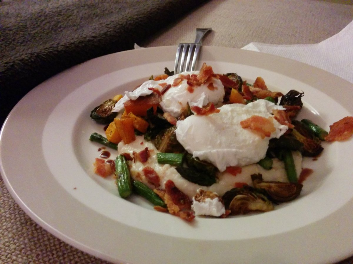Roasted Seasonal Vegetables with Cheesy Grits and Poached Eggs ...